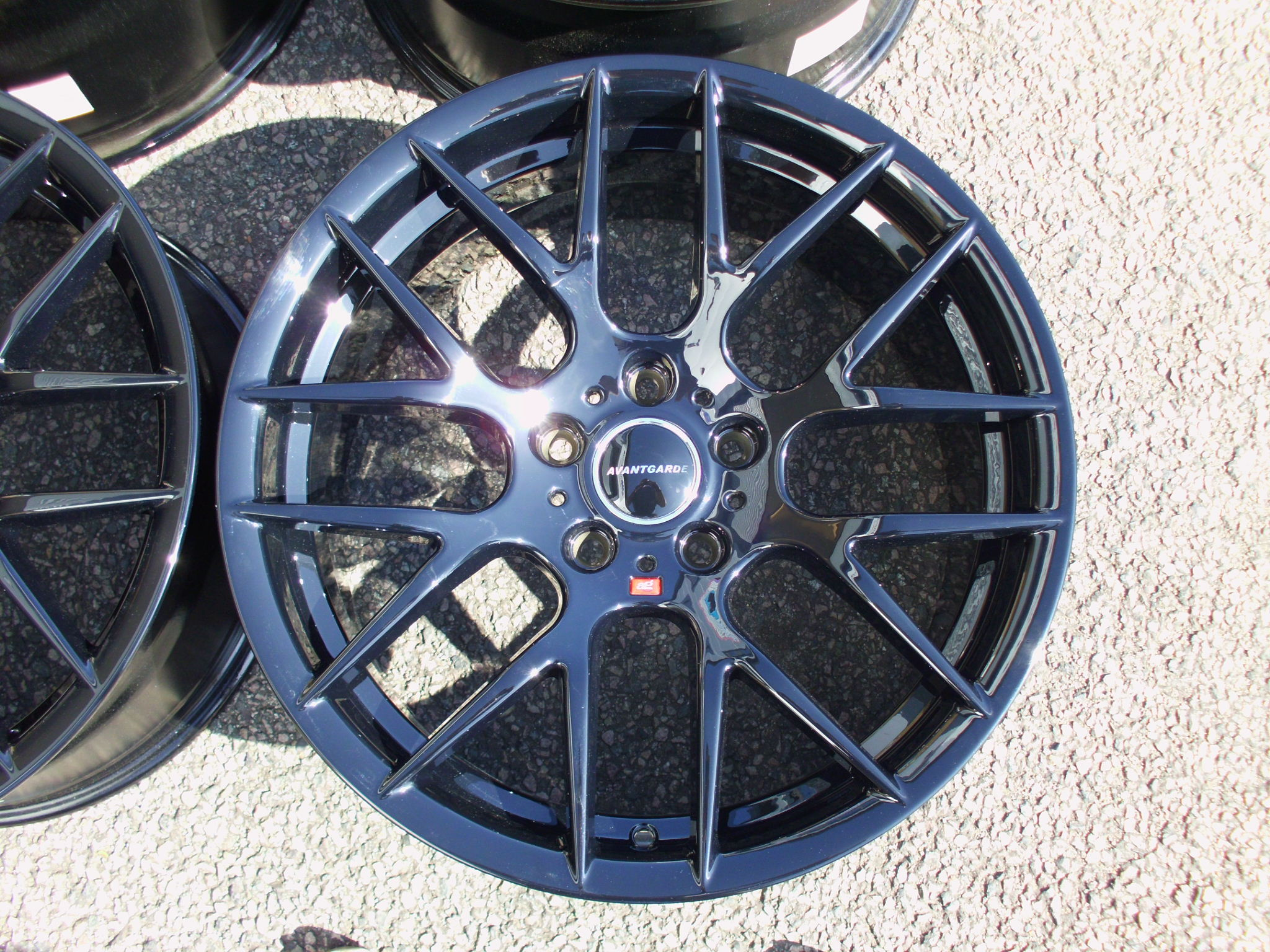 "NEW 19"" AVANT GARDE M359 Y SPOKE ALLOY WHEELS CUSTOM REFURBED IN GLOSS BLACK DEEPER CONCAVE 10"" REAR"